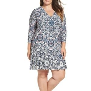 Eliza J Print star infused vneckline paisley dress